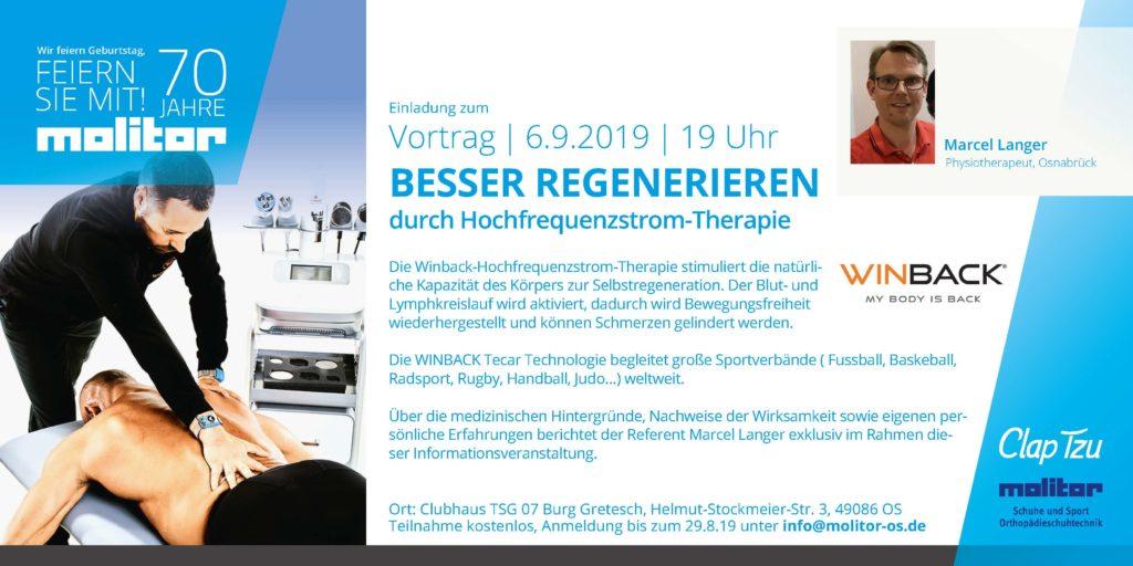 """Flyer für den Vortrag """"Besser regenerieren"""" von Marcel Langer am 6.9.2019"""