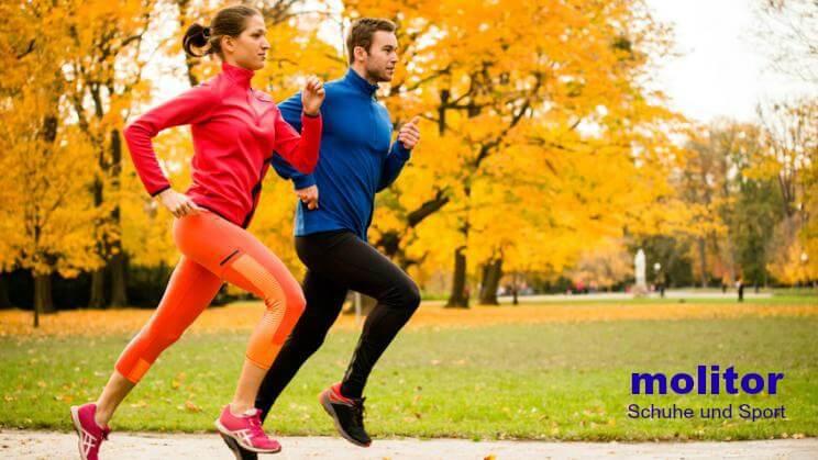 2 Läufer (synchron) im herbstlichen Park